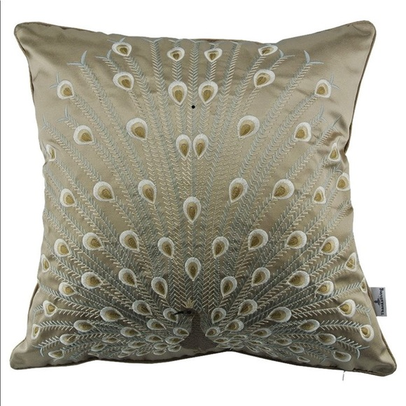 Peacock Embroidered Decorative Throw Pillow